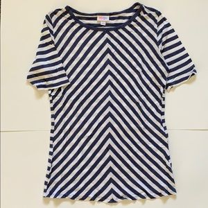 Large Blue/White Striped LuLaRoe Gigi T-shirt